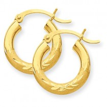 Satin Diamond Cut Round Hoop Earrings in 10k Yellow Gold