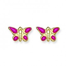 Epoxy Fill Pink Butterfly Earrings in Non Metal