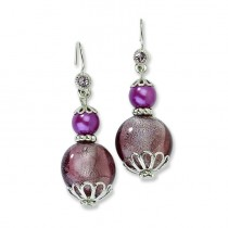 Purple Crystal W Purple Beads Dangle Earrings in Fashion