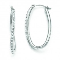 Diamond Fascination Oval Hinged Hoop Earrings in 14k White Gold (0.01 Ct. tw.) (0.01 Ct. tw.)