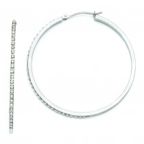 Diamond Fascination Large Round Hinged Hoop Earrings in 14k White Gold (0.01 Ct. tw.)