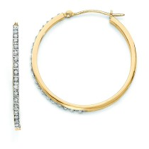 Diamond Fascination Round Hinged Hoop Earrings in 14k Yellow Gold (0.01 Ct. tw.) (0.01 Ct. tw.)