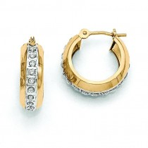 Diamond Fascination Round Huggy Hinged Hoop Earrings in 14k Yellow Gold (0.01 Ct. tw.)
