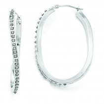 Diamond Fascination Oval Twist Hinged Hoop Earrings in 14k White Gold (0.01 Ct. tw.)