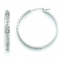 Diamond Fascination Round Hinged Hoop Earrings in 14k White Gold (0.01 Ct. tw.) (0.01 Ct. tw.)