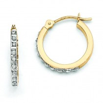 Diamond Fascination Small Hinged Leverback Hoop Earrings in 14k Yellow Gold (0.01 Ct. tw.)
