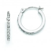 Diamond Fascination Leverback Hoop Earrings in 14k White Gold (0.01 Ct. tw.) (0.01 Ct. tw.)