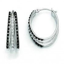 Diamond Fascination B W Diamond Triple Oval Hinged Hoop Earrings in 14k White Gold (0.01 Ct. tw.)
