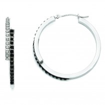 Diamond Fascination B W Diamond Round Hinged Hoop Earrings in 14k White Gold (0.01 Ct. tw.)