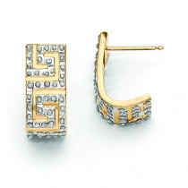 Diamond Fascination Greek Key Post J Hoop Earrings in 14k Yellow Gold (0.01 Ct. tw.)