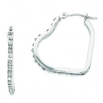 Diamond Fascination Heart Hinged Hoop Earrings in 14k White Gold (0.01 Ct. tw.) (0.01 Ct. tw.)