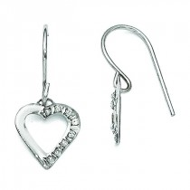 Diamond Fascination Heart Earrings in 14k White Gold (0.01 Ct. tw.) (0.01 Ct. tw.)