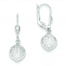 Diamond Cut Dangle Leverback Earrings in 14k White Gold