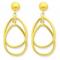 Oval Dangle Earrings in 14k Yellow Gold