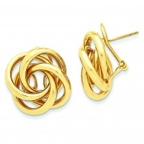 Love Knot Tube Earrings in 14k Yellow Gold