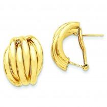 Fancy Omega Back Post Earrings in 14k Yellow Gold
