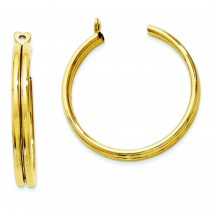Double Hoop Earrings Jackets in 14k Yellow Gold