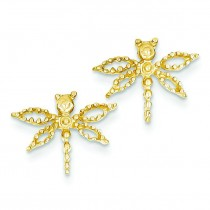 Dragonfly Earrings in 14k Yellow Gold
