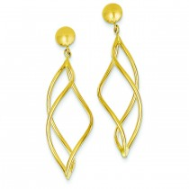 Curved Tube Dangle Earrings in 14k Yellow Gold