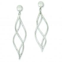 Swirl Dangle Earrings in 14k White Gold