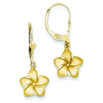 Satin Diamond Cut Plumeria Dangle Leverback Earrings in 14k Yellow Gold