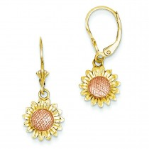 Sunflower Dangle Leverback Earrings in 14k Rose Gold