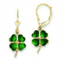 Enameled Clover Leverback Earrings in 14k Yellow Gold