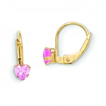 Leverback Pink CZ Earrings in 14k Yellow Gold