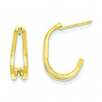 Double J-Hoop Earrings in 14k Yellow Gold