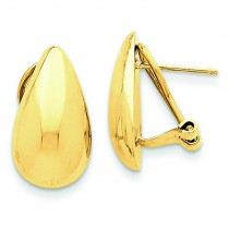 Teardrop Omega Back Post Earrings in 14k Yellow Gold