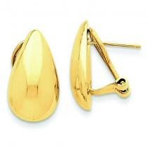 Teardrop Omega Back Post Earrings in 14k Yellow Gold
