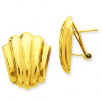 Fancy Omega Back Post Earrings in 14k Yellow Gold
