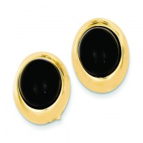 Onyx Fancy Earrings in 14k Yellow Gold