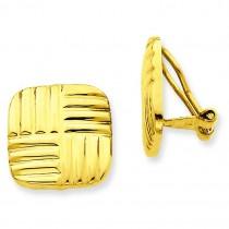 Non-pierced Basket Weave Earrings in 14k Yellow Gold