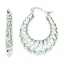 Scalloped Hoop Earrings in 14k White Gold