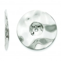 Hammered Disc Earring Jackets in 14k White Gold