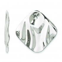Hammered Square Earring Jackets in 14k White Gold