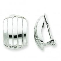Ribbed Non-pierced Omega Back Earrings in 14k White Gold