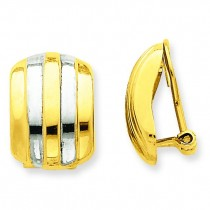 Ribbed Non-pierced Omega Back Earrings in 14k Yellow Gold