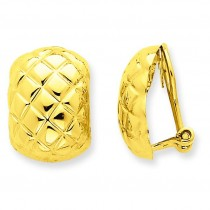 Quilted Non-pierced Omega Back Earrings in 14k Yellow Gold