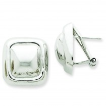 Square Button Omega Back Post Earrings in 14k White Gold