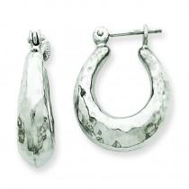 Hammered Hoop Earrings in 14k White Gold