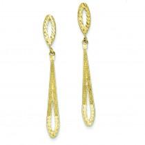 Diamond Cut Dangle Post Earrings in 14k Yellow Gold