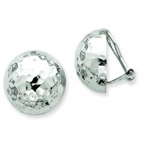 Hammered Non Pierced Earrings in 14k White Gold