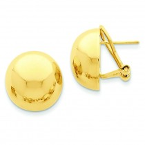 Omega Clip Half Ball Earrings in 14k Yellow Gold