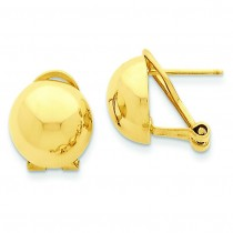 Omega Clip Half Ball Ea in 14k Yellow Gold