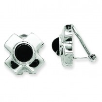 Omega Clip Onyx Non Pierced Earrings in 14k White Gold