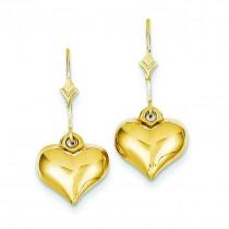 Puff Heart Leverback Earrings in 14k Yellow Gold