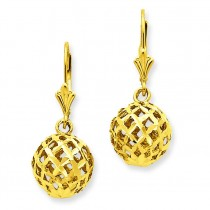Diamond Cut Mesh Ball Dangle Leverback Earrings in 14k Yellow Gold