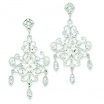 Filigree Chandelier Earrings in 14k White Gold